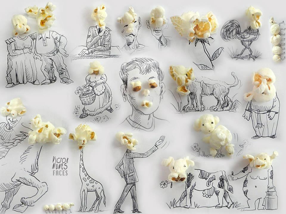 ilustraciones-2D-objetos-3D-palomitas-de-maiz-victor-nunes