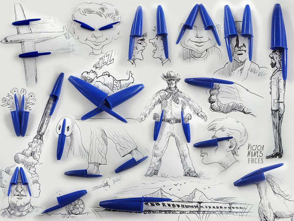 ilustraciones-2D-objetos-3D-tapones-bolis-bic-victor-nunes