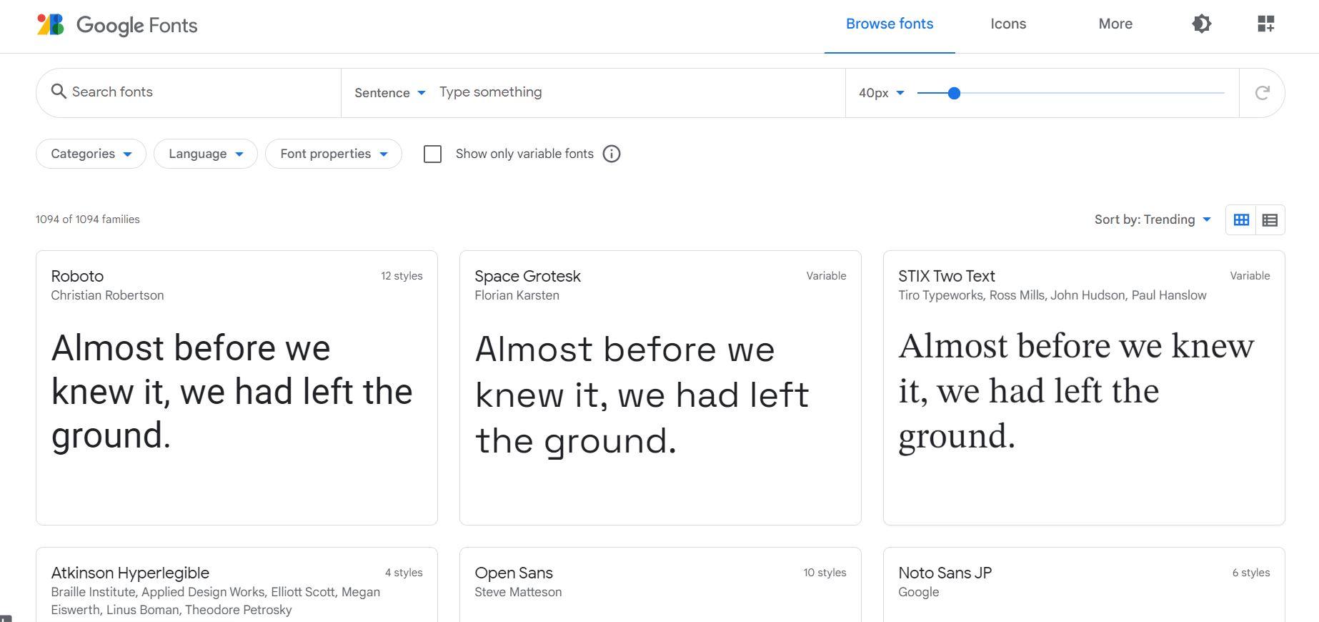 Biblioteca de fuentes en Google Fonts