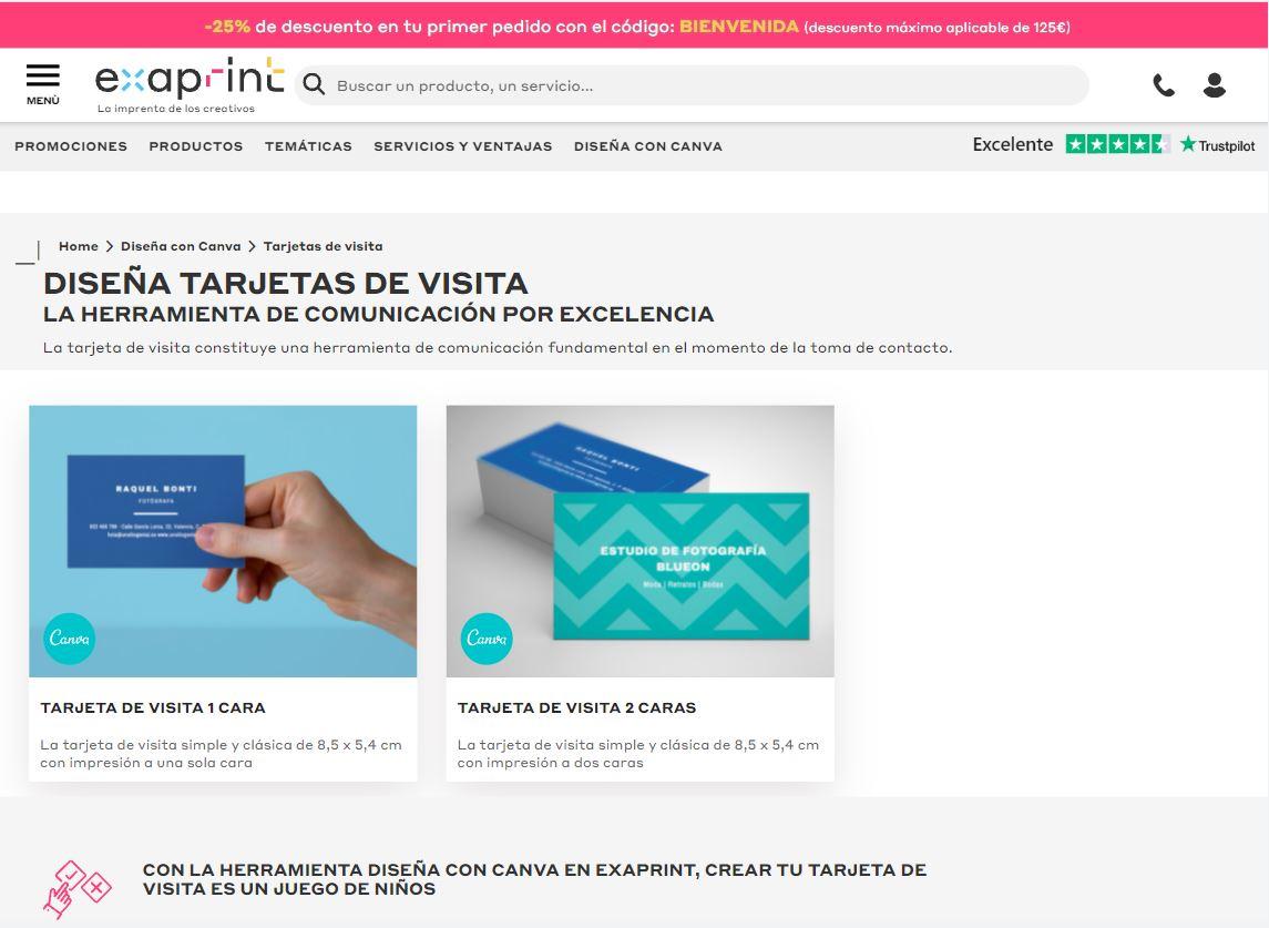 diseñar tarjetas de visita con Canva